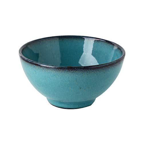 Bol en Céramique (350ml) Bols à Céréales/Soupe à Céréales Assiettes à Pâtes Cuisine Craft Art de la Table Bols à Dessert au Riz (Couleur : Bleu, taille : 12.3cm)