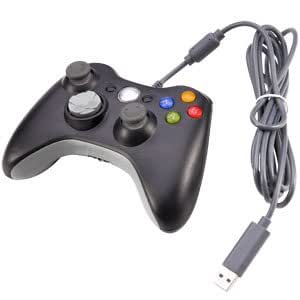 VIDEO GAMES ACCESSORY USB WIRED CONTROLLER JOYPAD GAMEPAD FOR MICROSOFT XBOX 360 PC WINDOWS BLACK NEW