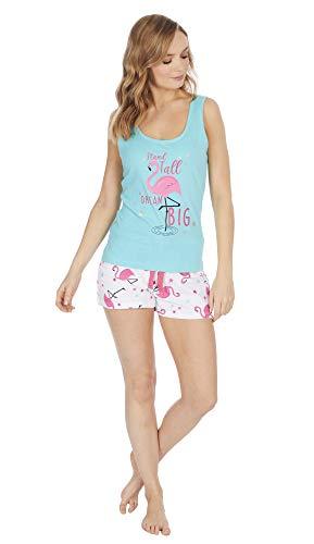 Forever Dream Damen Flamingo oder Wassermelone Sommer Shorts Pyjama Set (L ca. EU 44-46, Flamingo) - Flamingo Pyjama