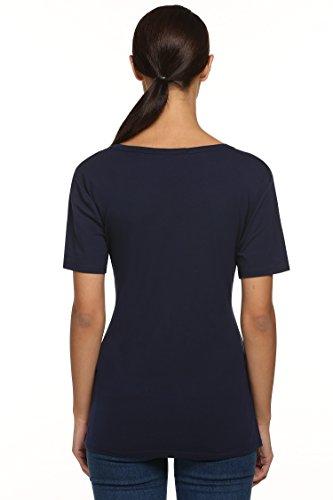 cooshional Damen T-Shirt Elegant Kurzarmshirt Sommer V-Ausschnit Tops Oberteil mit Knöpfen Bluse Slim Pullover Marineblau