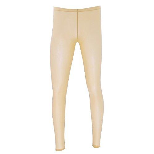 dPois Herren Leggings Pantyhose Lang Unterhosen Männer Transparent Strumpfhose Tights Unterwäsche Longjohns Underwear Strümpfe in Schwarz, Weiß, Rosa, Nude Nude M