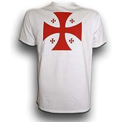 Camiseta Cruz Templaria Color BLANCA Talla L