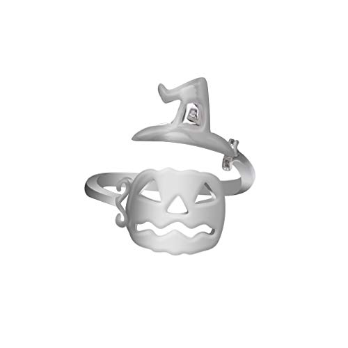 (YESMAEay Cute Halloween Ghost Hexe Besen Fingerring Offene Ringe Party Cosplay Schmuck, Silber Hexe Hut kürbis Gesicht)