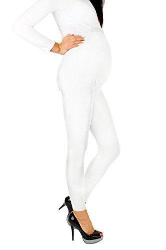 futuro fashion Umstandsleggins knöchellang sehr warm dick schwer Baumwollleggings (Fleece innen) sehr komfortabel alle Größen 8-22 UK Weiß