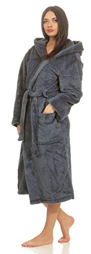 etérea Bademantel, Morgenmantel mit Kapuze für Damen und Herren - Mustique - Unisex Saunamantel aus Kuschelfleece, flauschig und weich - Größe: XL, Farbe: Grau