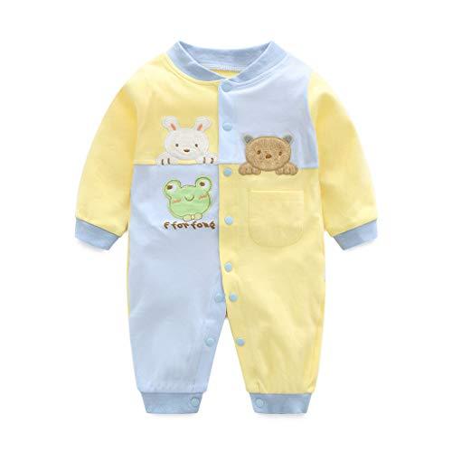 Bambino cotone pagliaccetto tutina ragazzi ragazze manica lunga pigiama neonato cartone animato stampare tutine (blu + giallo, 59)