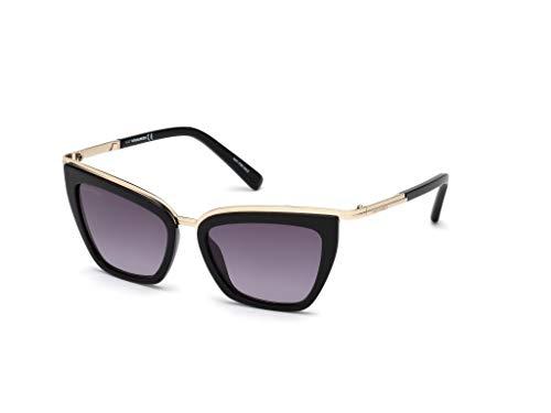 Dsquared2 Unisex-Erwachsene DQ0289 01B 53 Sonnenbrille, Schwarz (Nero Lucido/Fumo Grad),
