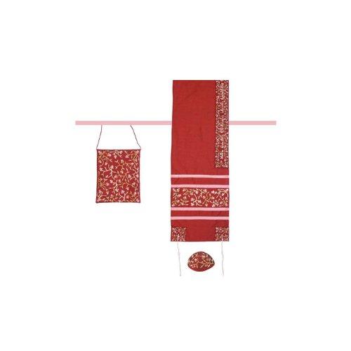 World Of Judaica Yair Emanuel Damen-Tallit Set-Maroon Blumen
