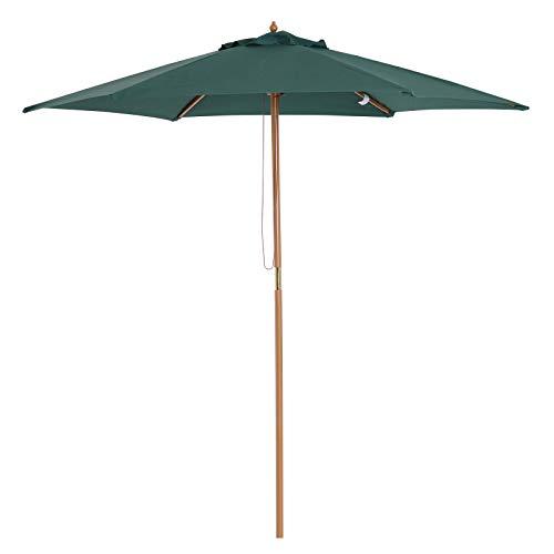 Outsunny Parasol Droit Rond Grande Taille de Jardin Ø 2,5 x 2,25H m Bois de Bambou Vert