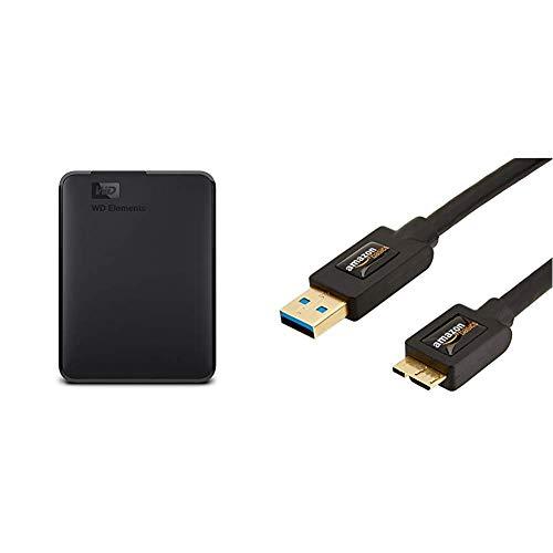 WD Elements Portable, Externe Festplatte - 1,5 TB - USB 3.0 - WDBU6Y0015BBK-WESN & AmazonBasics USB-3.0-Kabel A-Stecker auf Micro-B-Stecker (0,9 m) -