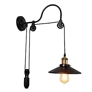 Wandlampe Retro Kabel Enverstellbare, Riemenscheibe Wandleuchte Modern Design Industrial Wand lampe Schwarz Metall Flurlampe Leseleuchte für Kinderzimmer Schlafzimme Esszimmer Beleuchtung E27 *1