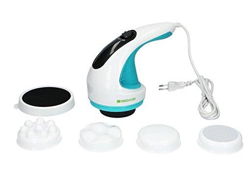 Medivon CF-311+ Cellulite Massage Infrarot für Bodyshaping mit Heizfunktion, Massagegerät Cellulite Elektrisches Hand Massagegerät Vibration mit 4 Alternativen Massageköpfen, Fette Massage Arm Kompakt