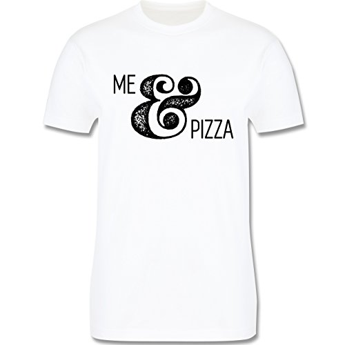 Statement Shirts - Me & Pizza Typo - Herren Premium T-Shirt Weiß