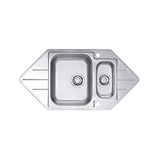 Alveus Corner Bowl Inset Kitchen Sink Stainless Steel 18/10 40, 1 Piece, 98.5 x 50 cm, 1068476