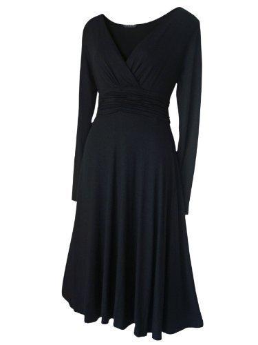 Vintage Stil Klassisch Abend Party Festliches Kleid GRÖßEN EU 36 - 52 - Schwarz., 40 - Geraffte Rückseite Unten