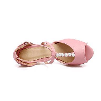 LvYuan Da donna Sandali Cinturino alla caviglia Di pelle Estate Formale Cinturino alla caviglia Perle A stiletto Bianco Nero Rosa Tessuto almond Black