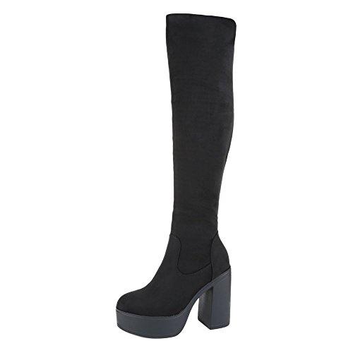Overknee Stiefel Damen Schuhe Klassischer Stiefel Pump Plateau Reißverschluss Ital-Design Stiefel