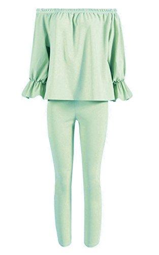 Femmes Grande Taille texturé en tricot Encolure Two Piece Loungewear Set EUR Taille 44-52 Menthe
