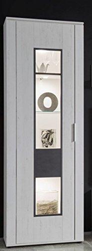 Dreams4Home Vitrine 'Curo' - Schrank, Standvitrine, Glasvitrine, Aufbewahrung, Schrank, optional mit Beleuchtung, 1 Tür, 4 Einlegeböden, B/H/T: 68 x 192 x 37 cm, Wohnzimmer, Fernsehzimmer, modern, Pinie Weiss NB/Applikation Matera grau, Beleuchtung:ohne Beleuchtung