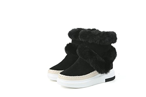 breve Boots stivali Chunky fondo scarpe caviglia Heel Snow Black spesso QIN X Donna qUwZ8
