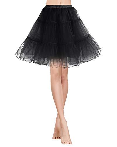 Gardenwed Tutu Damenrock Tüllrock Petticoat Unterrock 50er Kurz Ballet Tanzkleid Rockabilly Minirock Underskirt Black L