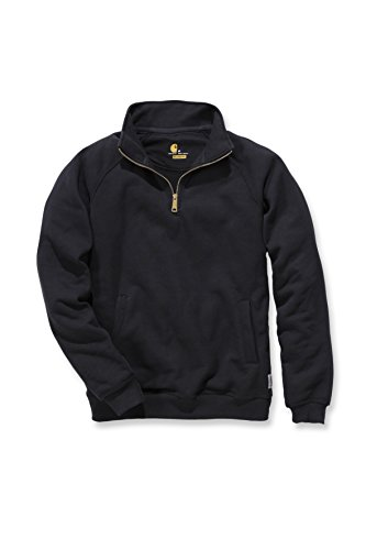 carhartt-midweight-mens-quarter-zip-mock-neck-work-pullover-black-l