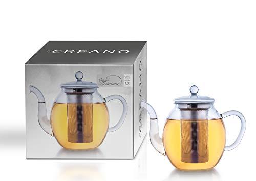 Creano Théière de verre, infuseur de thé 3 pièces avec tamis intégré en Inox et couvercle en verre, idéal pour la préparation de thés en vrac, ne goutte pas, tout en un, 1.0L