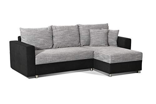 CAVADORE Schlafsofa Caaro mit Recamiere links oder rechts / Couch mit  Schlaffunktion und Bettkasten / Mit Materialmix / 233 x 146 x 69 / Hellgrau-Schwarz