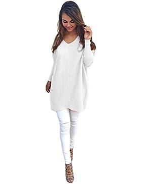 [Patrocinado]Romacci Mujeres Otoño Invierno Suéter V Cuello Suelto de Gran Tamaño Baggy Suéter Jumper Tops Vestido de Tamaño...