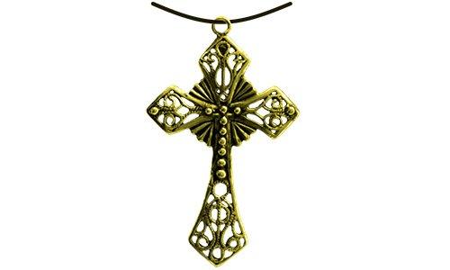 HOLZSPIELEREI Anhänger Kreuz groß gold