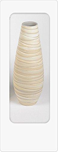 Bodenvase 50cm Creme - Relief aus schwerer Keramik
