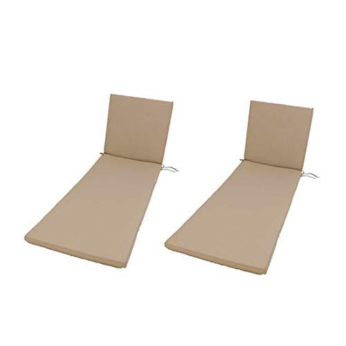 Lot de 2 Coussins pour Chaise Longue en Teck de Jardin Couleur Sable | Dimensions: 60x196x5 cm | Tissu antitâches | Déhoussable | Livraison Gratuite