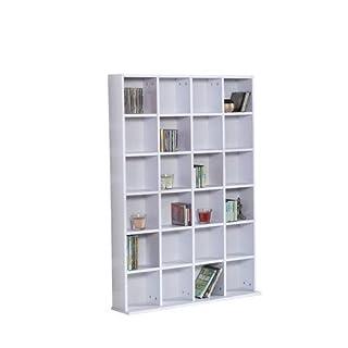 HOMCOM 480 CD/312 DVD Storage Shelf Rack Media Storage Unit Shelves Racks Wooden Bookcase Display Unit Adjustable White