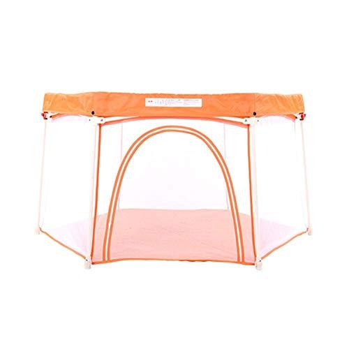 QAZSDF Tragbarer Unabhängiger Brettspielplatz des Maschenspielzauns des Babys 6 Mit Zelt Und Marineball (Farbe : Orange)