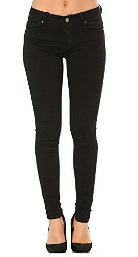 Nina Carter Mujer vaqueros pitillos pantalones Jeans skinny negro con solapas talla 36