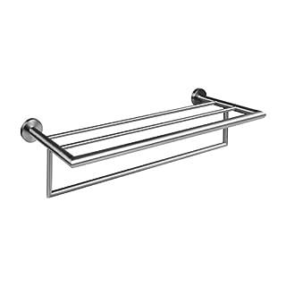 Ambrosya® | Exclusive towel rack made of stainless steel | Bathroom Bathroom Shower Holder Bracket Towel Rack Towel Bar Rod Toilet WC (Stainless Steel (Brushed))