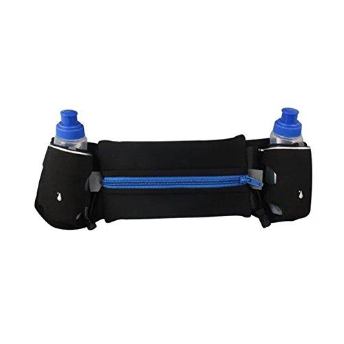 Kangming Hydration Running Gürteltasche mit Wasser Flaschen Halterung Pocket Workout Fitness Verstellbare Taille Fanny Pack für Wandern Camping Reise Blau