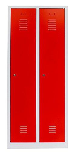 Montiert Doppelstöckige Spinde (Spind 2 Abteile | grau / rot)