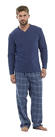 Mens Thermal Fleece Top & Flannel Check Bottoms PJ Pyjama Set Winter Nightwear (XL, Blue Check)