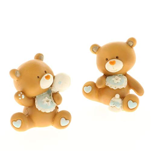 Tom orso orsetto celeste resina 4 cm bomboniera nascita bambino