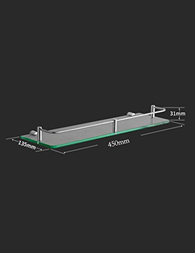 XQY Hochwertiges Küchen-Badezimmer-Regal, Edelstahl-Glas-Regal-Badezimmer-Hardware-hängendes Badezimmer-Einzelne Schicht-Make-upplattform-Zahnstange, die Qualität, Tuch-Zahnstange sicherstellt,45 cm - Glas-regal-hardware