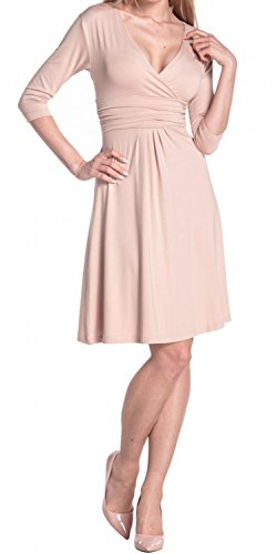 Glamour Empire Femme Robe d'été élégante Manches 3/4 Col V 282 Écru