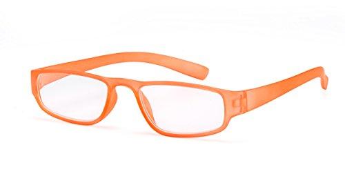 Extrem leichte Filtral Lesebrille in der Trendfarbe Orange | Moderne eckige Lesehilfe für Damen & Herren | Erhältlich in grün, pink, schwarz, braun, weiß, türkis, blau & lila | +2,00 dpt F4519853