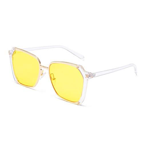 MWPO Sonnenbrille im Freien Dekoration Einkaufen Metallrahmen Anti-UV-Strahlung Damen Visier Gläser (Farbe: Rahmen gelbe Linse)