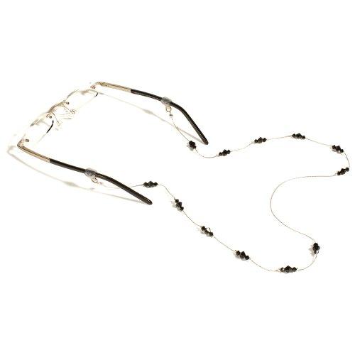 CROAKIES Unisex-Erwachsene Kristall Cord Eyewear Retainer, damen Herren unisex, Jet Silver (Brillen Croakies)