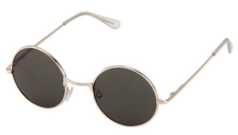 Sonnenbrille Nickelbrille mit runden Gläsern und Federscharnieren retro Art. 8058-16 gold / dunkel (Gold Grün Sonnenbrille)