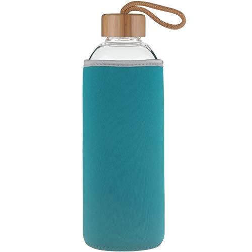 Ferexer Sports Trinkflasche Glas Wasserflasche mit Bambus Deckel 1 L / 1000 ml / 550 ml