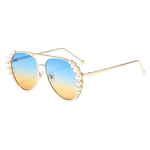 Siwen Neue Perle Dekoration Frauen Pilot Sonnenbrille Doppel Brücken Farbverlauf Shades Uv400,Blauer gelber Farbverlauf