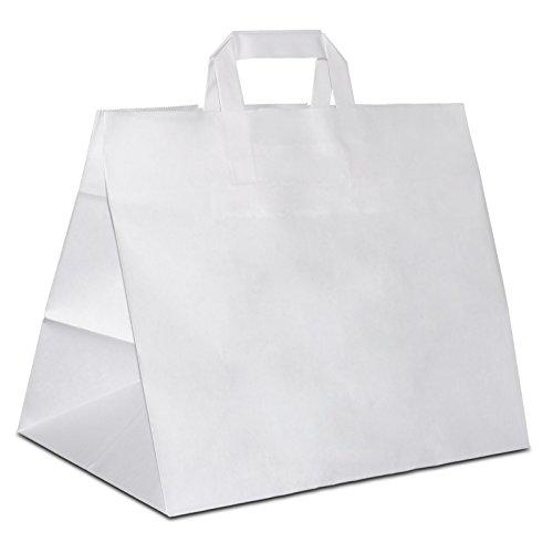 50 x HUTNER Konditortaschen mit extra breiten Boden weiss 32+22x27 cm | stabile Kuchentragetaschen mit weiten Boden (22 Boden)