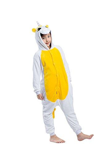 Imagen de darkcom niños kigurumi pijama enterizo animal cosplay disfraces de dibujos animados mono con ropa de dormir de color amarillo unicornio alternativa